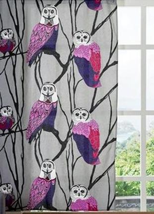 Шторы хлопковые, фотошторы, портьерные занавески совы птицы 145х250 эксклюзив, пара