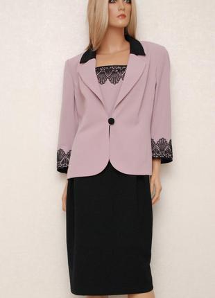 Новый шикарный комплект платье+пиджак черно-лавандового цвета 14-16uk