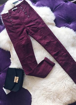 Стильные бордовые джинсы скинни с высокой посадкой в наличии