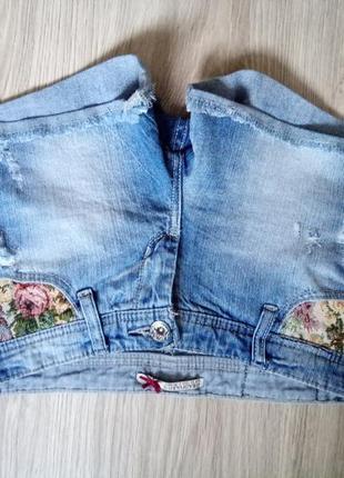Джинсовые шорты с вышивкой гобелен, xs, s