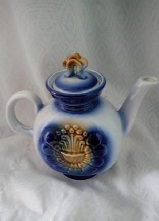 Чайник-заварник с крышкой советских времен керамика тяжелый высота 23