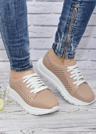 Кроссовки из кожи с перфорацией от производителя flamanti, шкіряні кросівки від виробника