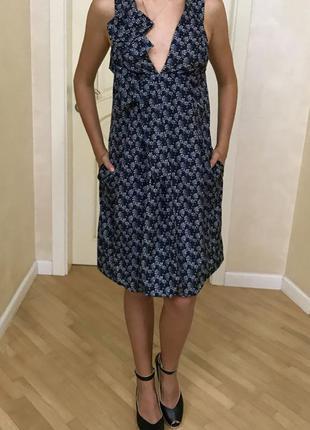 Платье сарафан синий принт на бретелях gianfranco ferre оригинал