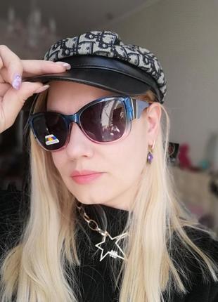 Трендовые двухцветные эксклюзивные солнцезащитные женские очки с поляризацией