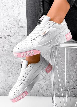 23 см кожаные кроссовки белые с розовым