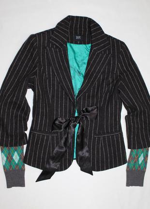 D.e.p.t. шерстяной полосатый пиджак трикотажными рукавами с геометрическим принтом