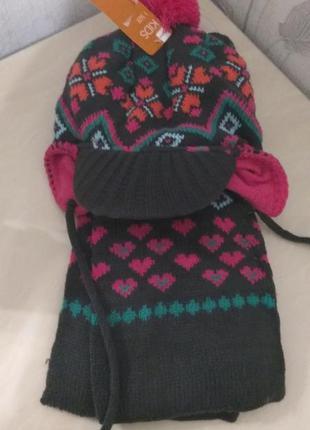 Зимний набор шапка шарф для девочки hema германия новый на 1-1,5года