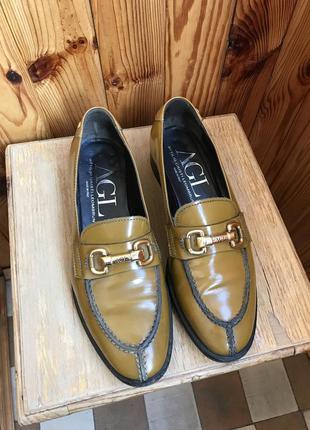 Туфли мокасины  кожаные agl attilio giusti leombruni. италия. оригинал