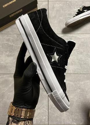 Женские кеды converse one star premium suede black