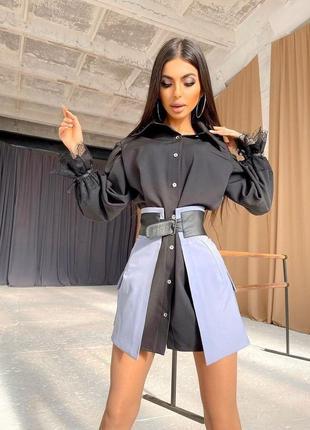 Платье-рубашка юбка с карманами