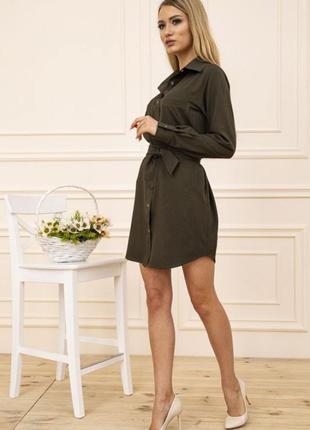 Платье-рубашка с поясом и карманами цвет хаки 102r043-1