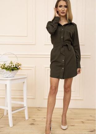 Платье-рубашка с поясом и карманами цвет хаки 102r043-12 фото