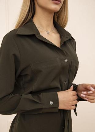 Платье-рубашка с поясом и карманами цвет хаки 102r043-15 фото