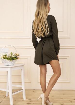 Платье-рубашка с поясом и карманами цвет хаки 102r043-14 фото