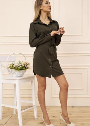 Платье-рубашка с поясом и карманами цвет хаки 102r043-13 фото