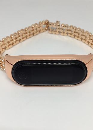 Mi band 5 ремешок со стразами розовое золото металлический очень красивый 😍