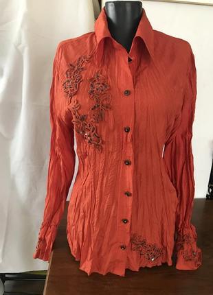 Блузка жатка с вышивкой винтаж