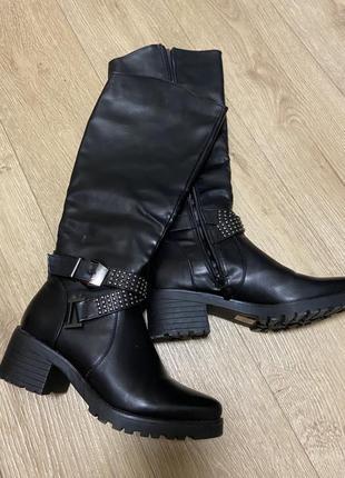 Демисезонные чёрные ботинки сапоги с заострённым носком