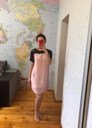 Розовое платье миди летнее платье шифон легкое с декорированной сеточкой