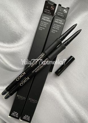 Чёрный стойкий автоматический карандаш для глаз kiko milano lasting