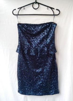Шикарное платье бюстье в пайетках zara с баской