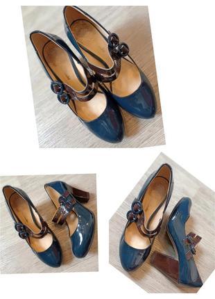 Туфли clarks лакированные натуральная кожа устойчивый каблук