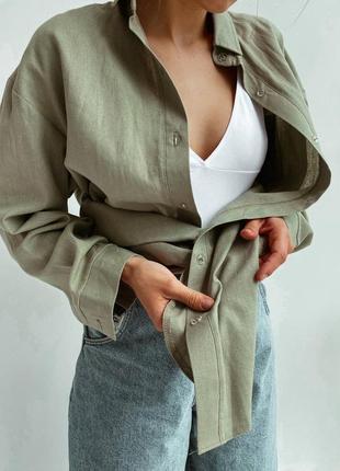 Лляна жіноча сорочка оливкова