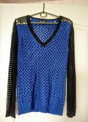 Laura scott ажурный свитер с метал. декором