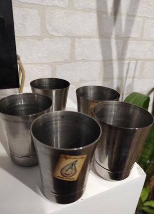 Набор походный. набор металлических, нержавеющих стопок, стаканчиков  в наборе 5 шт