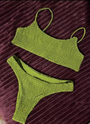 Стильный купальник из жатой ткани, ткань жатка, в рубчик, жатый стиль3 фото