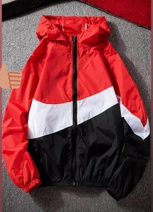 Ветровка, на молнии, с двойным капюшоном, матовая плащевка,899/347, черно-красный