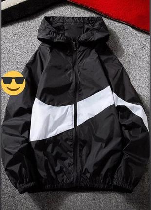 Ветровка, на молнии, с двойным капюшоном, матовая плащевка,899/347, черный