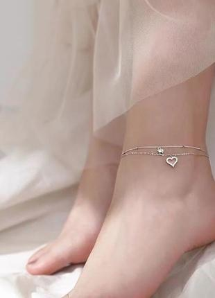 Красивый браслет на ногу посеребрённый с двумя сердцами