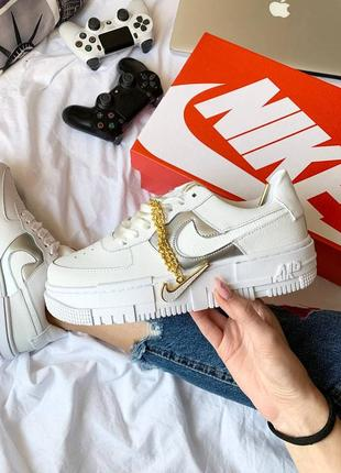 Nike air force pixel gold chain white женские кожаные кроссовки белого цвета