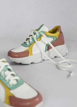 Стильные кожаные кросовки натуральные/сникерсы/цветные/бежевые/бирюзовые