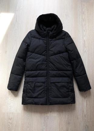 Пальто h&m женское чёрное дутое демисезонное куртка