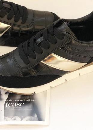 Чёрные кожаные кроссовки мокасины calvin klein оригинал р.34-35