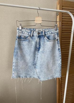 New look джинсовая вареная юбка