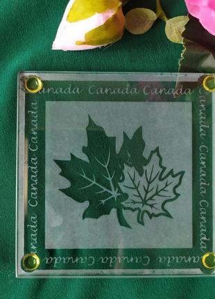 Стеклянный оригинальный костер подставка под чашку канада кленовый лист