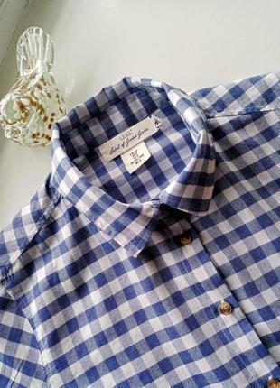 Хлопковая рубашка с карманом топ на пуговицах в клетку принт