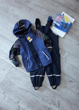 Комплект дождевик куртка на флисе и полукомбинезон без подкладки lupilu 98/104 и 110/116