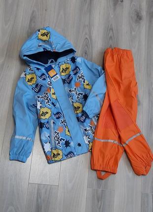 Комплект дождевик куртка на флисе и пштаны без подкладки lupilu 98/104 и 122/128