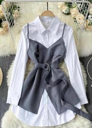 Сарафан + платье-рубашка