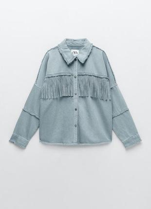Куртка-рубашка с бахромой zara
