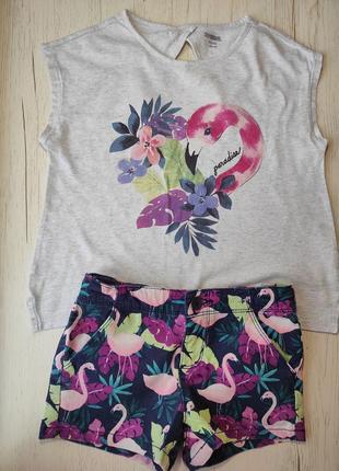 Комплект костюм футболка шорты фламинго