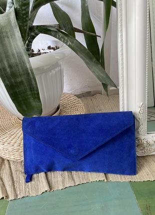 Замшевый клатч королевского синего цвета, которую можно отстегнуть! италия