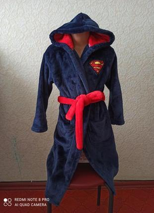 Плюшевый халат с капюшоном superman
