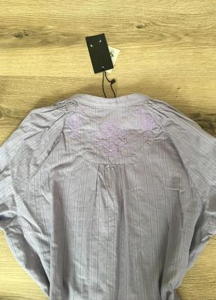 Лиловая рубашка с вышивкой