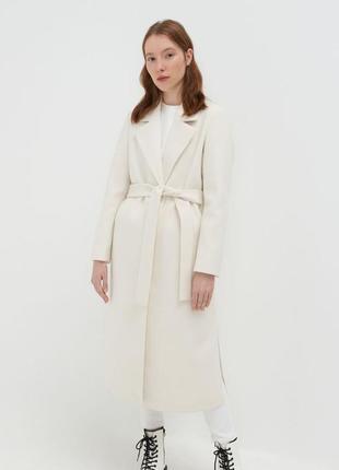 Базовое длинное пальто тренч молочное, крем для свадьбы, фотосессии s,m 42-44