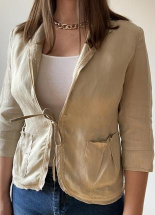 Бежевый льняной приталенный жакет накидка лен льон лляная льняная блуза размер 12 40 l